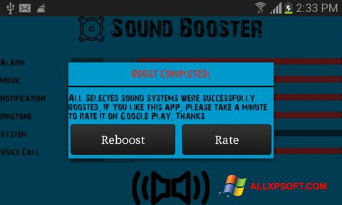 Ekrānuzņēmums Sound Booster Windows XP