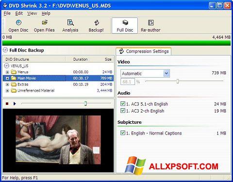 Ekrānuzņēmums DVD Shrink Windows XP
