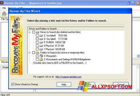 Ekrānuzņēmums Recover My Files Windows XP