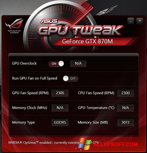 Ekrānuzņēmums ASUS GPU Tweak Windows XP