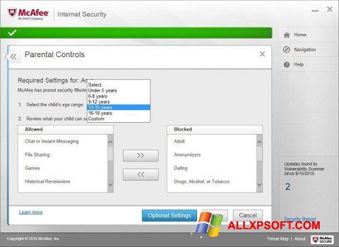 Ekrānuzņēmums McAfee Windows XP