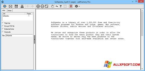 Ekrānuzņēmums pdfFactory Pro Windows XP