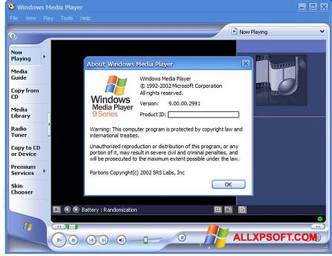 Ekrānuzņēmums Windows Media Player Windows XP