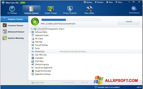 Ekrānuzņēmums Wise Care 365 Windows XP