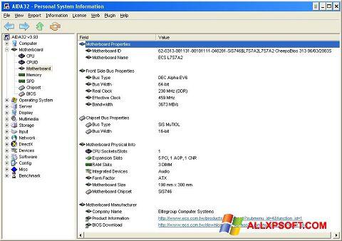 Ekrānuzņēmums AIDA32 Windows XP