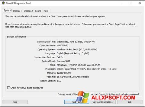 Ekrānuzņēmums DirectX Windows XP