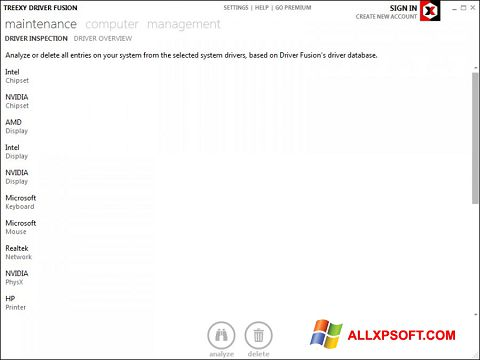Ekrānuzņēmums Driver Fusion Windows XP