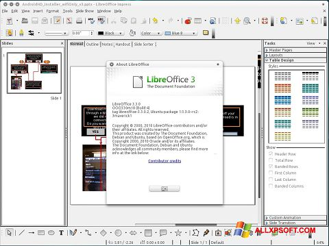Ekrānuzņēmums LibreOffice Windows XP