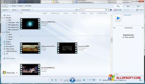 Ekrānuzņēmums Media Player Windows XP