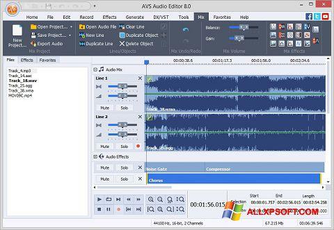Ekrānuzņēmums AVS Audio Editor Windows XP