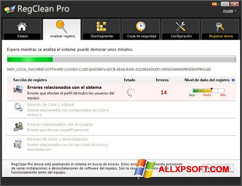 Ekrānuzņēmums RegClean Pro Windows XP