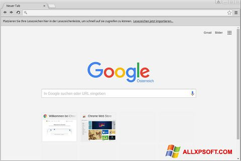 Ekrānuzņēmums Google Chrome Windows XP