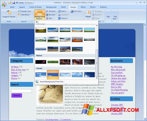 Ekrānuzņēmums Artisteer Windows XP