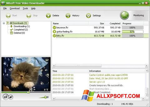 Ekrānuzņēmums Free Video Catcher Windows XP