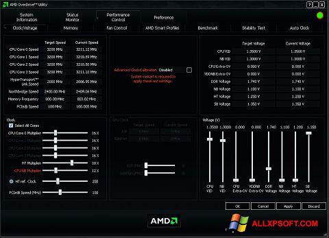 Ekrānuzņēmums AMD Overdrive Windows XP