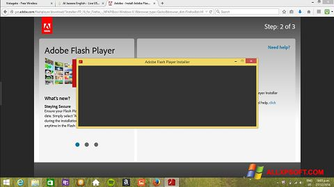 Ekrānuzņēmums Adobe Flash Player Windows XP
