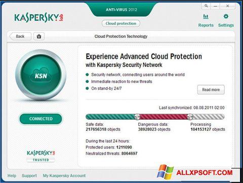 Ekrānuzņēmums Kaspersky Windows XP