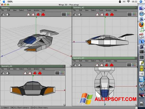 Ekrānuzņēmums Wings 3D Windows XP