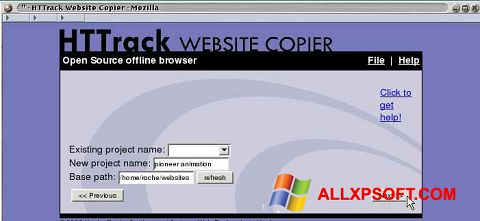 Ekrānuzņēmums HTTrack Website Copier Windows XP