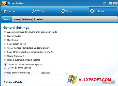 Ekrānuzņēmums Driver Reviver Windows XP