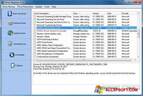 Ekrānuzņēmums Driver Magician Windows XP