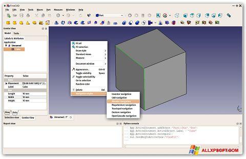 Ekrānuzņēmums FreeCAD Windows XP