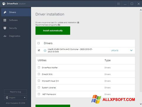 Ekrānuzņēmums DriverPack Solution Windows XP