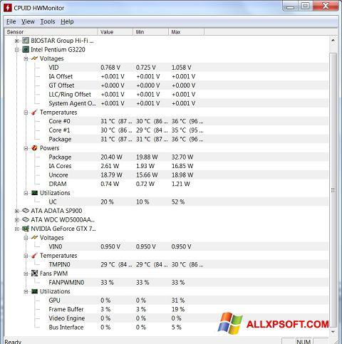 Ekrānuzņēmums HWMonitor Windows XP