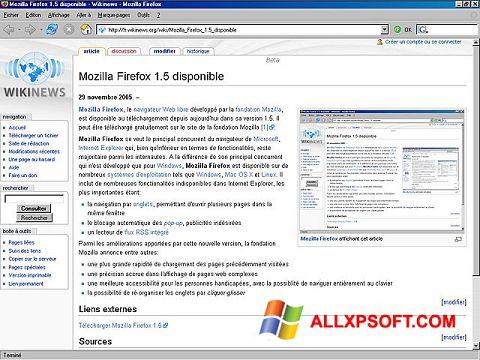 Ekrānuzņēmums Mozilla Firefox Windows XP