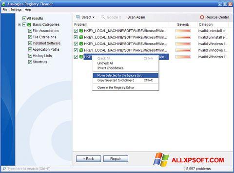 Ekrānuzņēmums Auslogics Registry Cleaner Windows XP