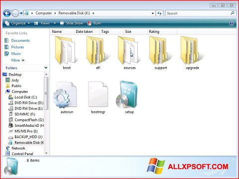 Ekrānuzņēmums Windows 7 USB DVD Download Tool Windows XP