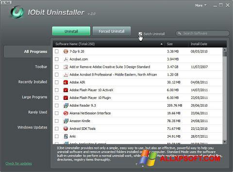 Ekrānuzņēmums IObit Uninstaller Windows XP