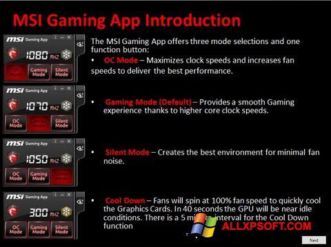 Ekrānuzņēmums MSI Gaming App Windows XP