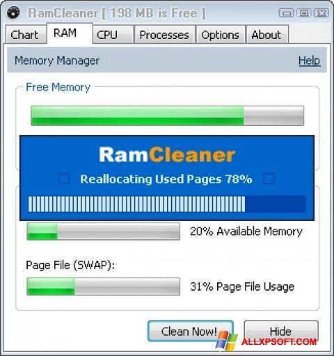 Ekrānuzņēmums RamCleaner Windows XP