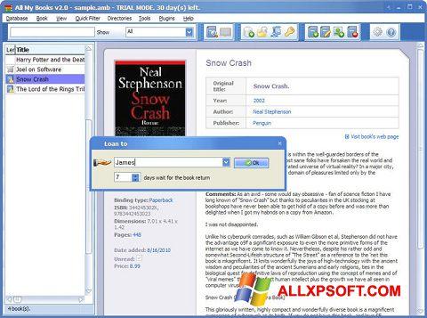 Ekrānuzņēmums All My Books Windows XP