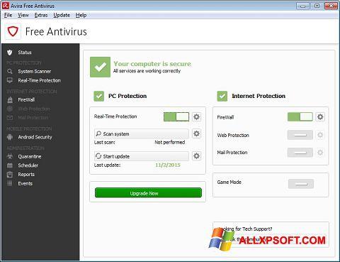 Ekrānuzņēmums Avira Free Antivirus Windows XP