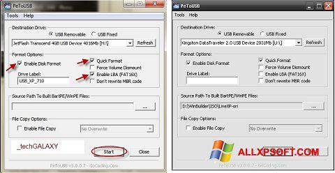Ekrānuzņēmums PeToUSB Windows XP