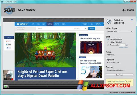 Ekrānuzņēmums Screencast-O-Matic Windows XP
