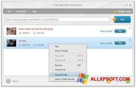 Ekrānuzņēmums Freemake Video Downloader Windows XP