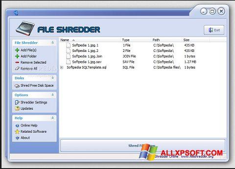 Ekrānuzņēmums File Shredder Windows XP