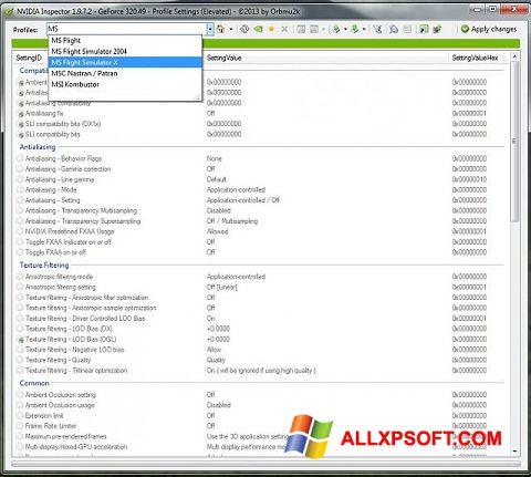 Ekrānuzņēmums NVIDIA Inspector Windows XP