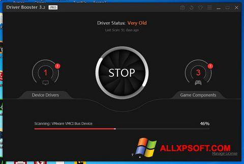 Ekrānuzņēmums Driver Booster Windows XP