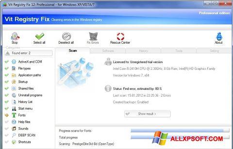 Ekrānuzņēmums Vit Registry Fix Windows XP