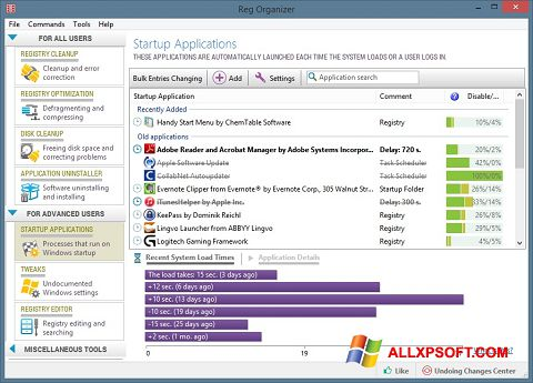 Ekrānuzņēmums Reg Organizer Windows XP