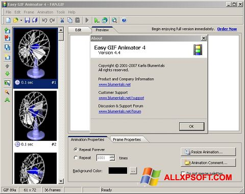 Ekrānuzņēmums Easy GIF Animator Windows XP