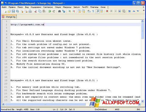 Ekrānuzņēmums Notepad++ Windows XP