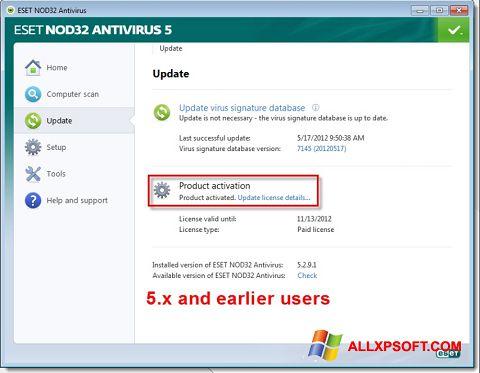 Ekrānuzņēmums ESET NOD32 Windows XP