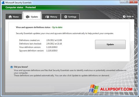 Ekrānuzņēmums Microsoft Security Essentials Windows XP